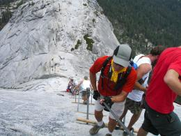 Crowds on the Half Dome Cables