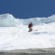 Skiing below cornice in Ellery Bowl