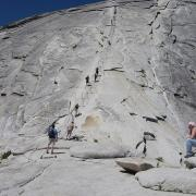 Looking up the Half Dome Cables from the subdome