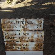 Trailhead sign with distances