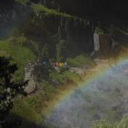 Heavy mist, steep trail