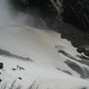 Hikers near base of Upper Yosemite Falls