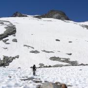 hiker on snowfield