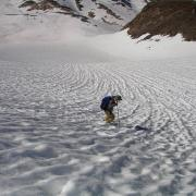 Coming down Lyell Glacier