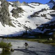 hiker in creek