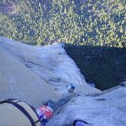 Looking down from belay on p. 26
