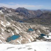 Looking down at Conness Lakes