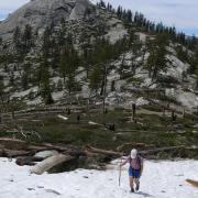 hiker on snow