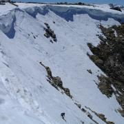 Skiing the upper slopes of Ellery Bowl