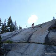 hiker on slab
